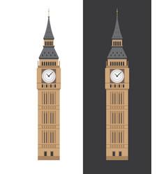 Big ben clock tower flat vector
