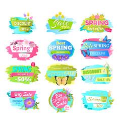 big set of spring sale advertisement labels flower vector image