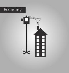 Black and white style icon construction crane vector