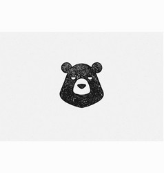 Black silhouette head wild bear as countryside vector