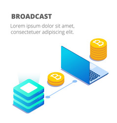 blockchain concept server room labtop bitcoin back vector image