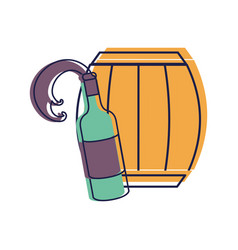 Bottle splashing wine with barrel vector