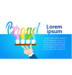 Branding business company advertisement hand hold vector