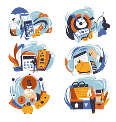 budget planning and spending money shopping vector image