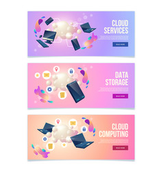 business hosting service web banners set vector image