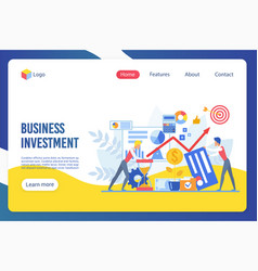 Business investment flat landing page vector