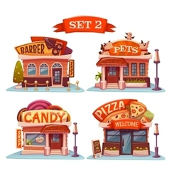 Candy Pets shop Pizzeria and barbershop vector