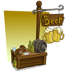 cartoon beer vendor booth market wooden stand vector image