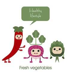 Cartoon Cute smiling vegetables radish artichok vector
