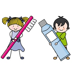 Children caring for your dental health vector image