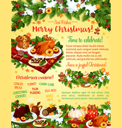 Christmas dinner celebration greeting card vector