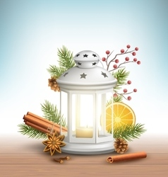 Christmas Lantern with Spices on Wooden Floor on vector