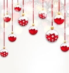 Christmas Red Glassy Balls on Shimmering Light vector