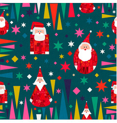 christmas santa claus retro seamless pattern vector image
