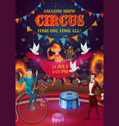 circus magician clown acrobat jugglers on arena vector image