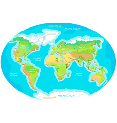 Continents oceans on map world our planet vector