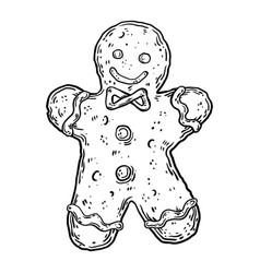 Cookie man engraving vector