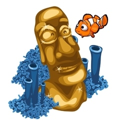 Coral reef clown fish and Golden statue of Maya vector