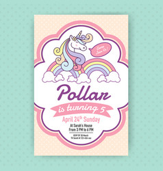Cute unicorn birthday party invitation design vector