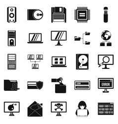 Data recovery icons set simple style vector