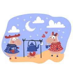 deer love valentine day cartoon animal set vector image