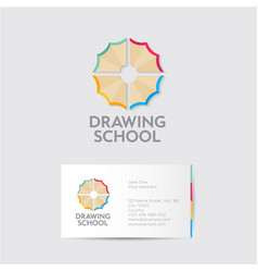 drawing school logo identity pencil shavings vector image