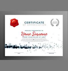 Elegant certificate of appreciation template vector