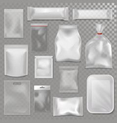 empty plastic bag package mockup transparent pack vector image