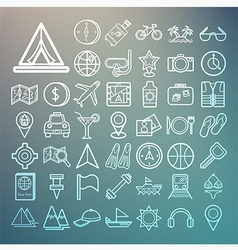 Equipment travel and sea icons retina vector