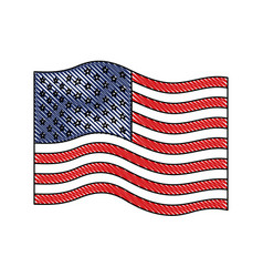 flag united states of america wave in colored vector image
