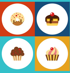 flat cake set of doughnut muffin dessert and vector image