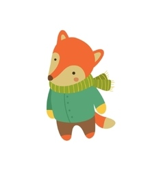 Fox In Green Warm Coat Childish vector