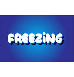 Freezing text 3d blue white concept design logo vector