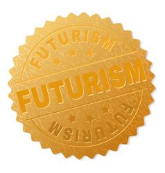 Golden futurism badge stamp vector