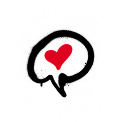 graffiti text balloon with a red heart over white vector image