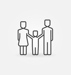 happy family line icon vector image vector image