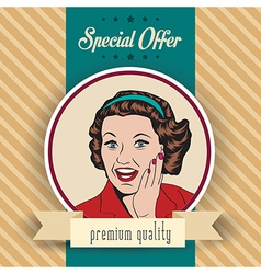 Happy woman commercial retro clipart vector