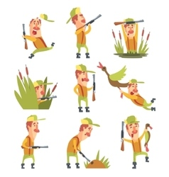 Hunter In Different Funny Situations Set Of vector