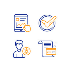 Internet report confirmed and person idea icons vector