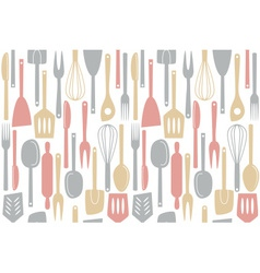 kitchen utensils and cutlery pattern vector image
