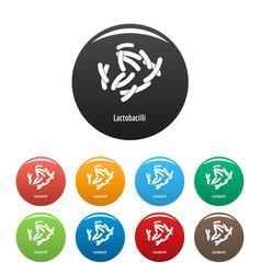lactobacilli icons set color vector image