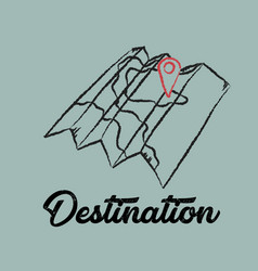 line drawing travel destination map vector image