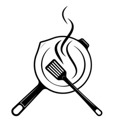 logo for menu or restaurant frying pan and vector image