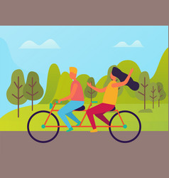man and woman riding on double bike people vector image