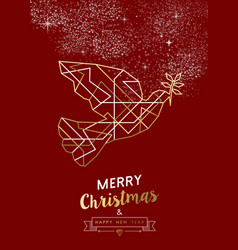 Merry christmas new year peace dove outline gold vector