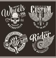 monochrome custom motorcycle logotypes vector image