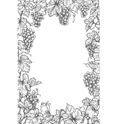 Monochrome grape branches vertical frame vector