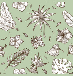 monstera and palm leaves floral decoration vector image
