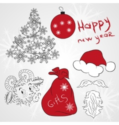 New year christmas collection 2015 doodle vector image