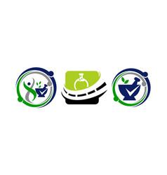 Pharmacy health template set vector